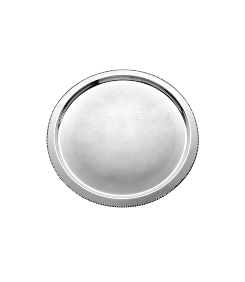 Basic Etched Mirror Steel Round Tray