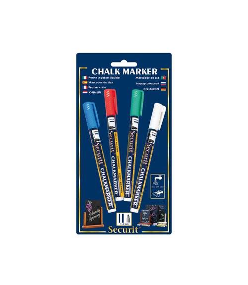 Blister Coloured 1-2mm Nib Small Chalk Marker-Set of 4
