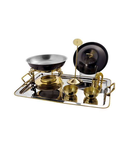 China Town Titanium and Gold Finish Snack Server Set