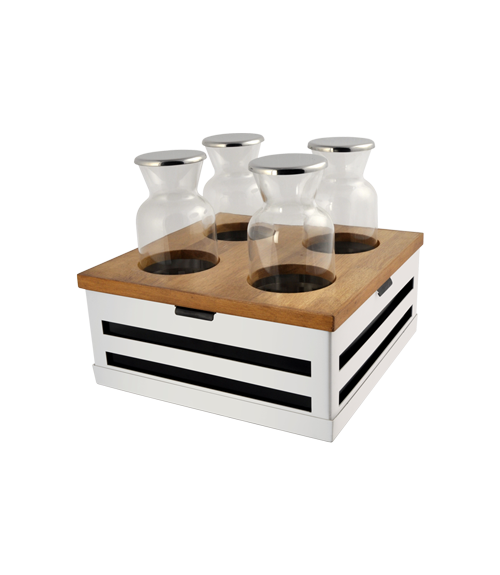 Crate White Finish Beverage Station with 4 Bottels