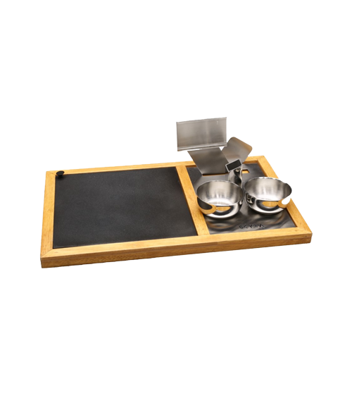 Hot Plate Wooden Base Snack Warmer Set with an extra Hot Plate