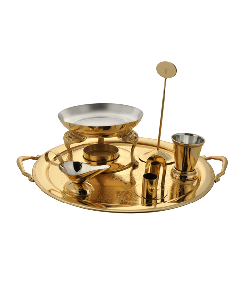 Queen Anne Gold Finish Round Snack Warmer Set