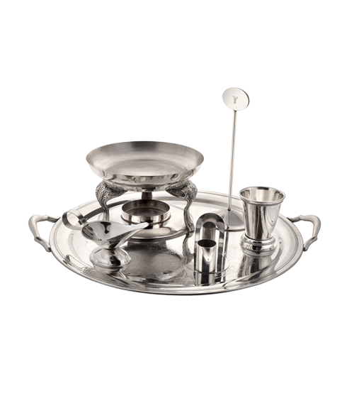 Queen Anne Mirror Steel Round Snack Warmer Set