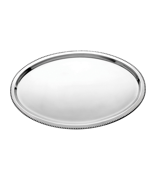 Bead Mirror Steel 20x14 in Oval Tray