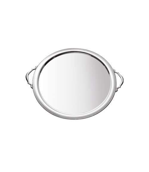 Bead Mirror Steel 15 in Round Tray with Handles